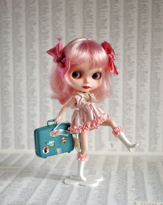 I'm Running Away and I'm Never Coming Home- Vintage Blythe size dolly suitcase - Teal Blue Aqua