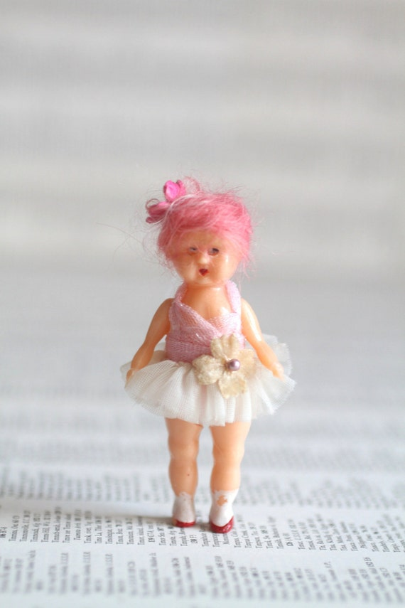 A Mini Mab Girl - Ooak custom celluloid tiny doll with Mab Couture dress - for 1/6 scale dollhouse collection - perfect for Blythe