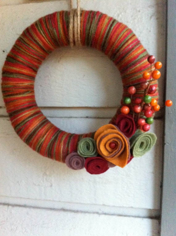 Multi colored Fall Yarn wreath