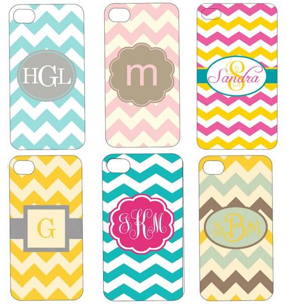 Personalized Monogram iPhone Case - Chevron iPhone 4 Case - Create Your Own - Custom iPhone 4 Case