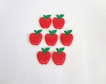 6 Big Red Polka Dot  Apples Padded Appliques Embellishment