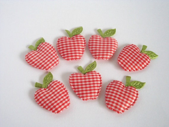 6 Big Gingham Red Apples Padded Appliques Embellishment / Last One