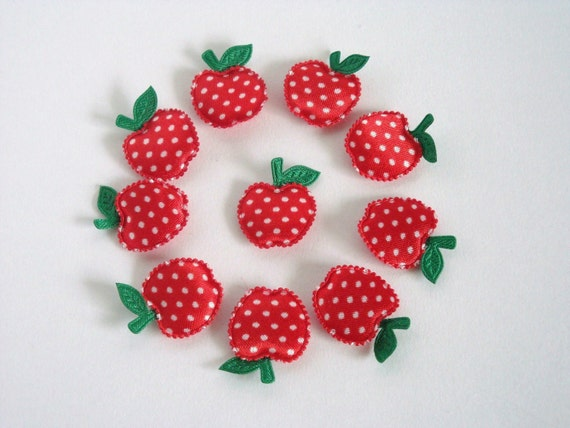 10 Polka Dots Red Apples Padded Appliques / Embellishment