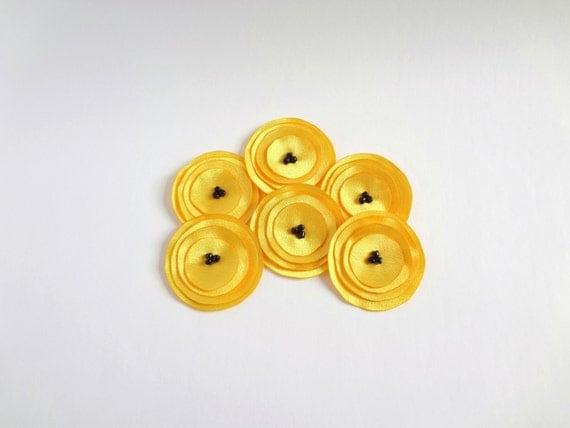 Lemon Yellow Satin  Poppies Embellishment / Last One