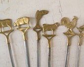 Skewers (6), Brass and Stainless Steel Made InTurkey
