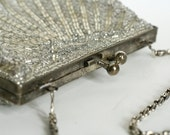 1950's La Regale Silver Sequin Clam Shell Bag