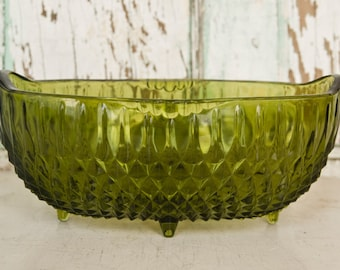 Vintage Cut Glass Serving Dish, Vintage Footed Dish,  Green Cut Glass, Retro Glass, Retro Kitchen
