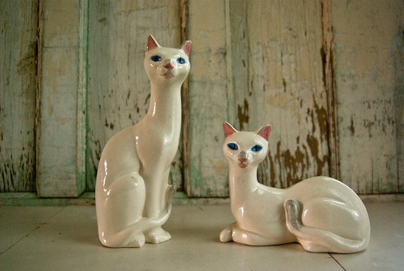 Vintage Cat Figurines Ceramic By Foundhere On Etsy
