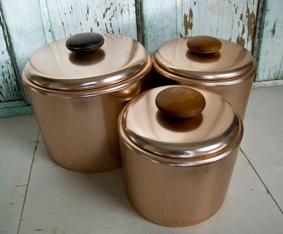 Mirro Canisters copper tone set of 3