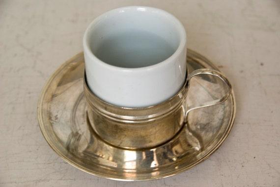 Demitasse Set, Porcelain and Silver Plate