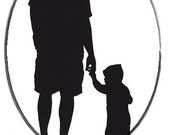 Father and Son or Daughter Dad and Child Cameo silhouette Hand Painted One Of A Kind