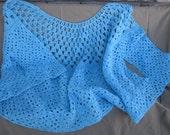 Vivid Blue Handmade Granny Square OOAK Crochet Shawl