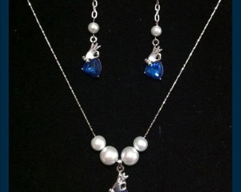 Fantastical OOAK UNIQUE Hand Holding Blue Crystal Heart Pendant with Pearls Necklace with MATCHING Earrings