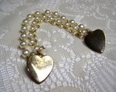 Fanciful Triple Pearl and Brass Heart Sweater Guard