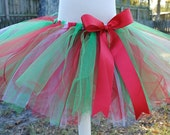 Christmas Holiday Red, Green & White Tutu