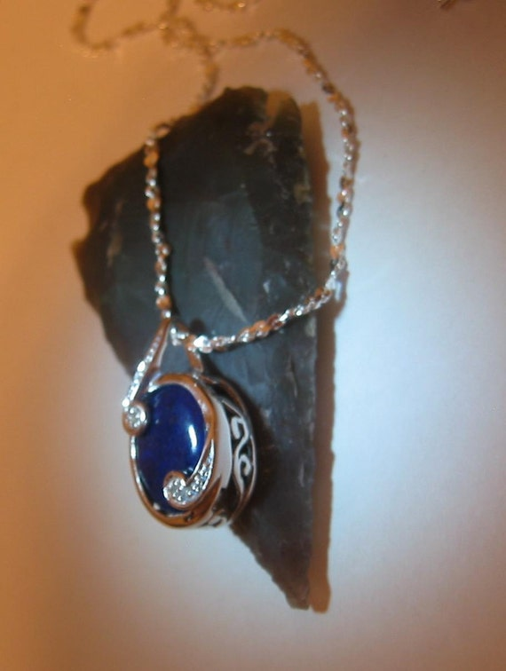 Deep Blue Lapis Lazuli and Diamond Pendant Necklace with Sterling Silver Setting and Chain