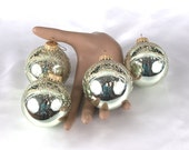 Vintage Mercury Glass Christmas Ornaments - Pale Green with Glitter Detail - Set of 4
