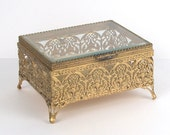 Victorian Revival Brass Filigree Casket Jewelry Box with Beveled Glass Lid