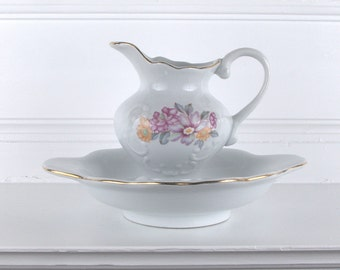 Small Floral Ceramic Pitcher and Basin