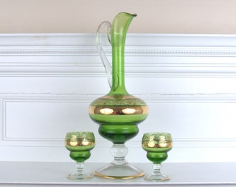 Green Glass Decanter and Cups with Gold Trim