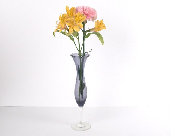 Lovely Purple Blue Etched Glass Vase with Ruffled Edge