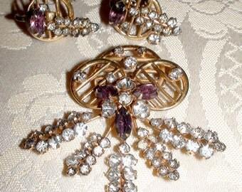 Vintage Purple Rhinestone Pin & Earring Set