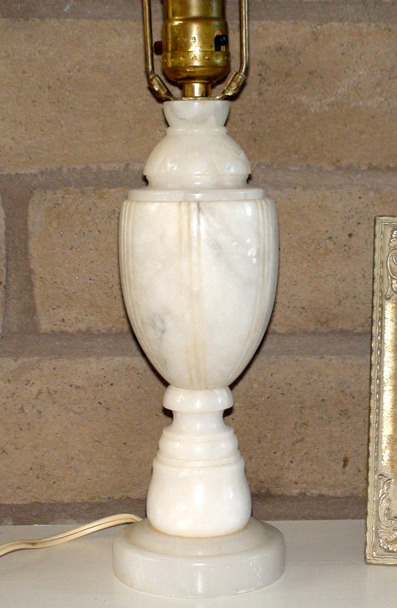 Vintage Carved Marble And Brass Table Lamp