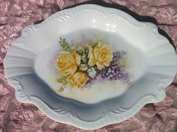 Hand-painted Yellow Rose White Porcelain Dish