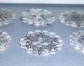 6 Handmade Buttons - Snowflake