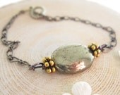 Pyrite Bracelet Oval Pyrite Stone with Brass Accent Beads Fall Fashion Free US Shipping