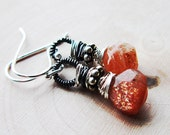 Orange Sunstone Earrings Sunstone wrapped in Oxidized Sterling Silver Pumpkin Spice