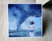 Tornado Painting Fine Art Print - Haunted - Landscape, Blue, Green, Teal, Woman, Figure painting