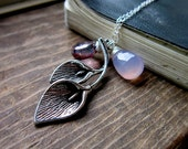Calla Lily Necklace Mystic Bio Quartz Lavender Chalcedony Sterling Silver Silver tone Lily Charm Violet Lavender Wire wrap Spring