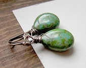 Sea Turtle Green Earrings Picasso Glass Oxidized Silver Dangle Woodland
