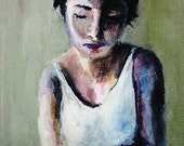 Sewn Print - Morning Tea, Woman, Olive Green, Portrait painting, Colorful, violet