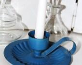 Vintage Royal Blue Brass Candlestick Holder