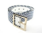 Blue and White Mid Century Men's Belt - Plaid - Reversible
