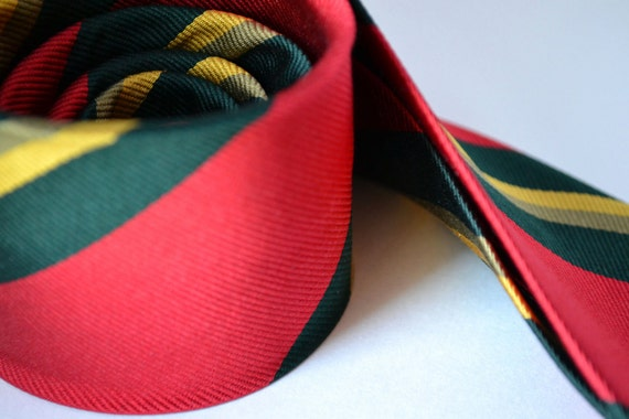 Back to School - Red Tie - Vintage Men's All Silk Skinny Tie with Green and Yellow Stripes - Classic Prep