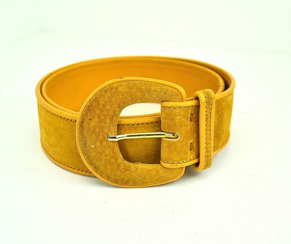 Vintage Gucci Belt - Mustard Yellow - Suede Leather