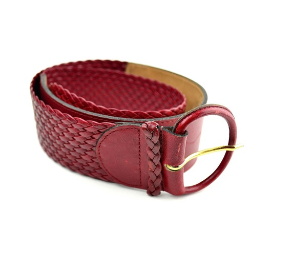 Red Belt - Christian Dior - Braided Cinch - Leather Belt