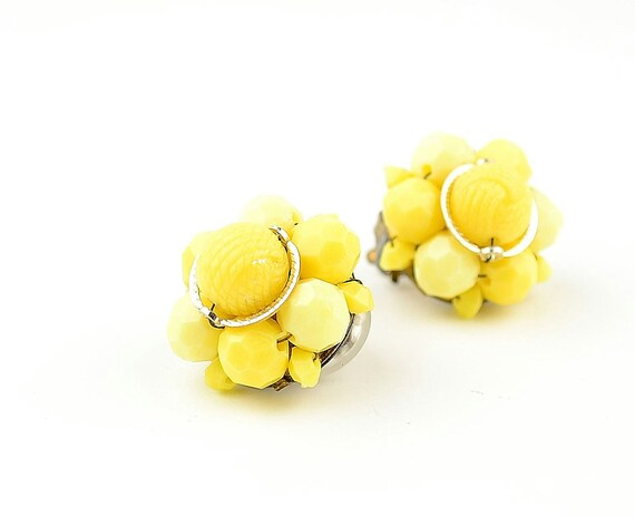 Bright Yellow Earrings - Beaded Vintage Clipons