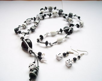 Lucky Dice Long Corded Necklace and Earring set
