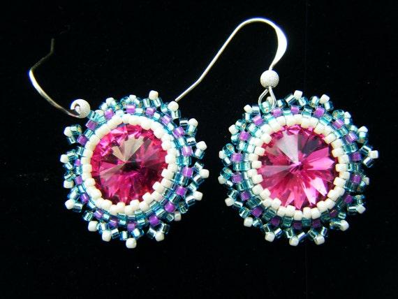 Handmade Swarovski Crystal Earrings - Raspberry Sunshine