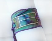 Bracelet Silk Ribbon with Faux Metal Accent