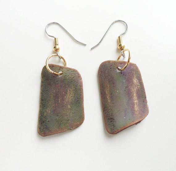 Gold Edged Faux Agate Earrings