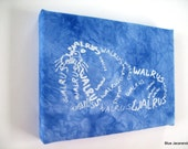Walrus Word Art Screen Print Stretched on Canvas White on Blue Calligram