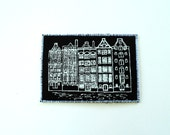 Dutch Houses ACEO Screen Print on Fabric White on Black Mini Art Card