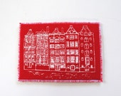 Dutch Houses Mini Art Card ACEO White on Red Screen Print on Fabric