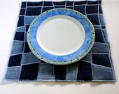 RESERVED FOR LAURA - Blue Woven Placemat - Upcycled Denim