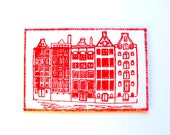 Dutch Houses Art Card Red Print on White